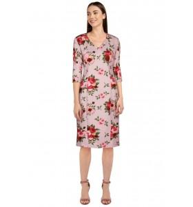 Second hand rosa kjole med blomster str. 44