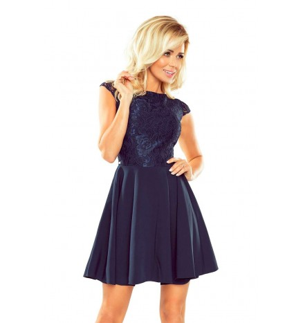 Marta navyblå blondekjole