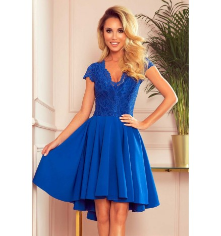 Patricia kongeblå blondekjole