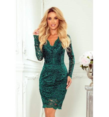 Kort grøn blondekjole