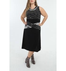 Plus size festkjole med sølv glitter og pallietter