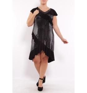 Plus size kjole med sølv glitter/pletter